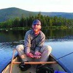 Brook-trout pond fishing rocks in a Maine June
